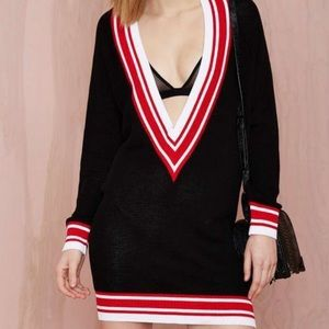 Nasty Gal Club Kid Plunging Sweater Dress V Neck